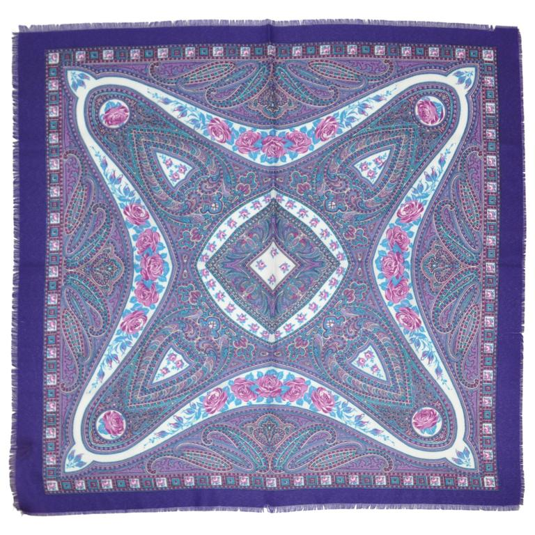 Bold Purple Wool Challis with Fringe Scarf