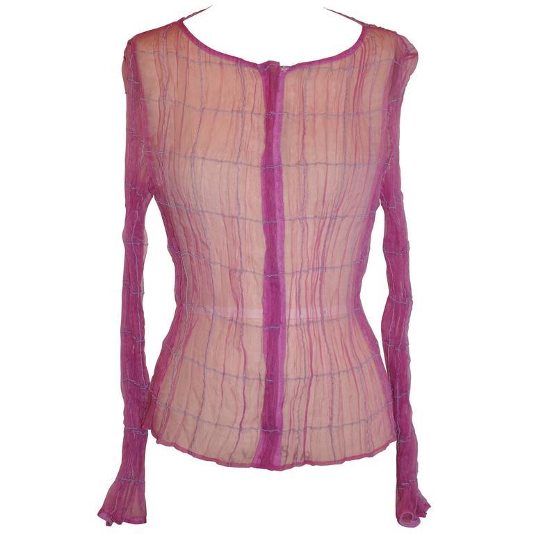"Georgio Armani ""Boutique"" Sheer Fuchsia with Silk Cord Accent Zippered Top"