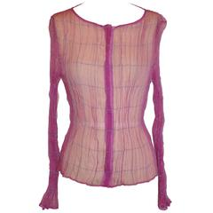 "Georgio Armani ""Boutique"" Sheer Fuchsia with Silk Cord Accent Zippered Top"