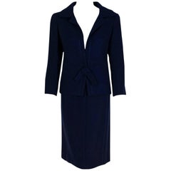 Christian Dior Haute Couture Navy Blue Wool Bow Tie Tailored Dress Suit, 1962