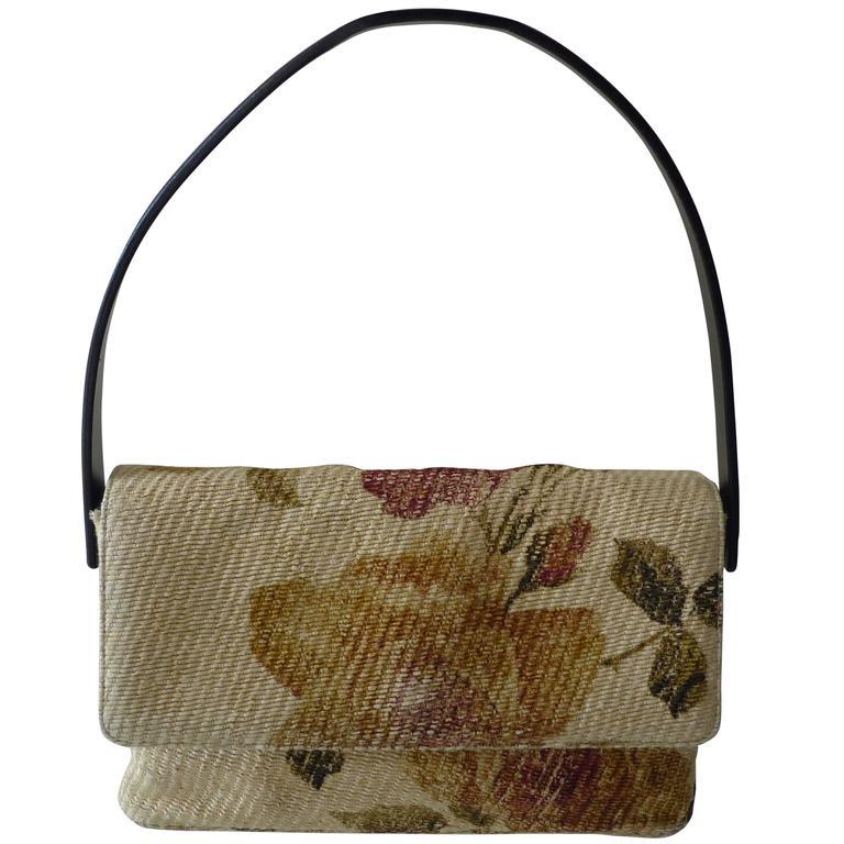 Roberto Cavalli Woven Straw and Leather Handbag
