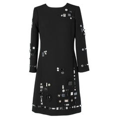 Black dress with Swarovski Rhinestone and passementerie Marc Jacob Resort 2016