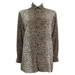 SAINT LAURENT beige LEOPARD silk Blouse Button-Up Shirt 36 XS