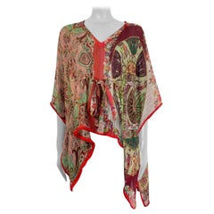 ETRO pink red burgundy silk chiffon PAISLEY PONCHO Blouse Shirt OS