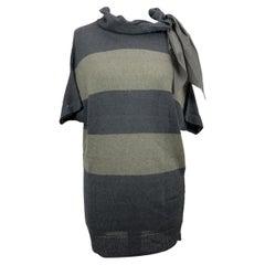 Brunello Cucinelli Grey Striped Short Sleeve Jumper Size S