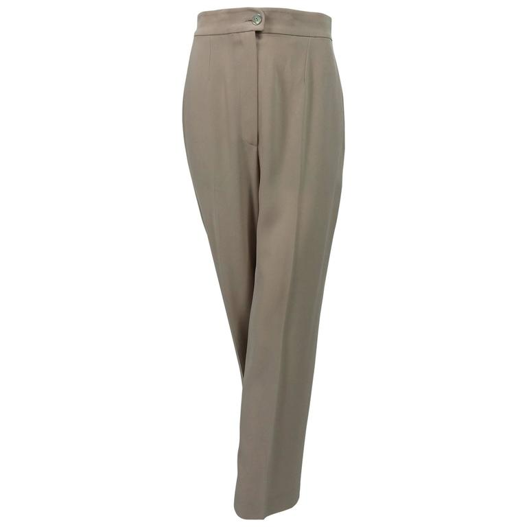 Chanel taupe banded waist fly front trouser 38