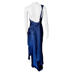 Yves Saint Laurent F/W 2010 Runway One Shoulder Backless Navy Evening Dress Gown
