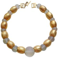 PIERRE CARDIN 1970's Brushed Goldtone and Frosted Acrylic Ball Necklace