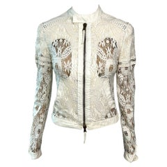 Jean Paul Gaultier Sheer Lace Inserts Cutout Ivory Top Jacket