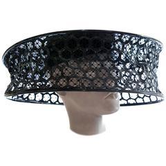 Alexander McQueen Black Patent Leather Honeycomb Hat Spring 2013