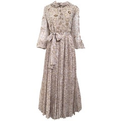 1970s Andrè Laug Taupe and Brown Silk Print Maxi Dress