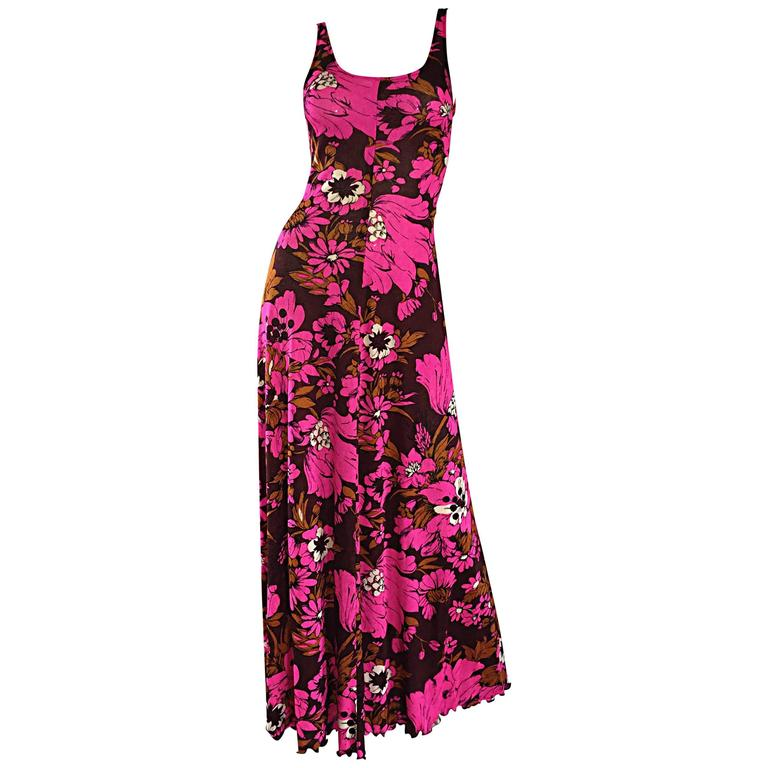 1970s Michael Dayan Hot Pink + Brown Floral 70s Vintage Jersey Maxi Dress 1