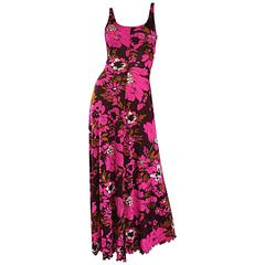 1970s Michael Dayan Hot Pink + Brown Floral 70s Vintage Jersey Maxi Dress