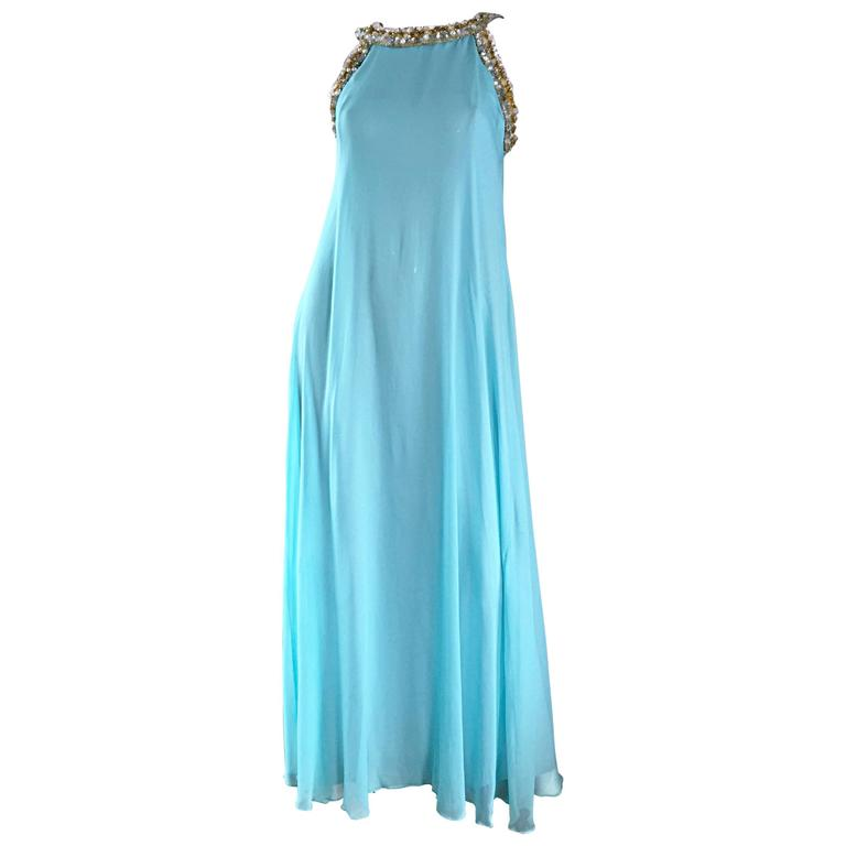 Beautiful 1960s Lord & Taylor Light Blue Aqua Chiffon Jeweled Rhinestone Gown For Sale