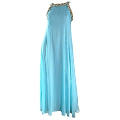 1960s Lord & Taylor Light Blue Aqua Chiffon Jeweled Rhinestone Vintage 60s Gown