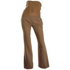 Rare Dirk Bikkembergs Ultra High Waisted Corset Brown Pinstripe Flare Leg Pants