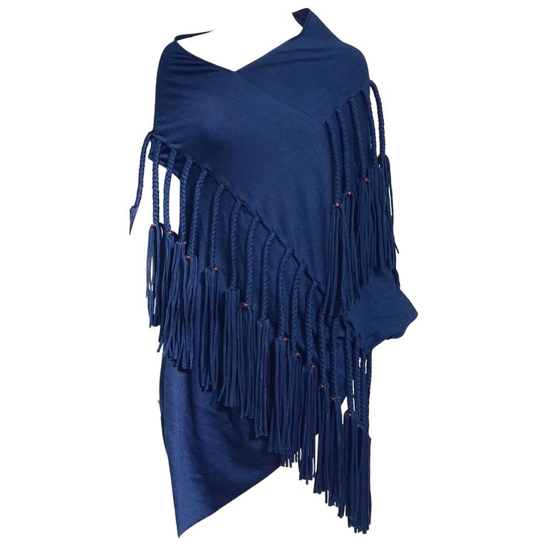 Junya Watanabe blue fringe knit top