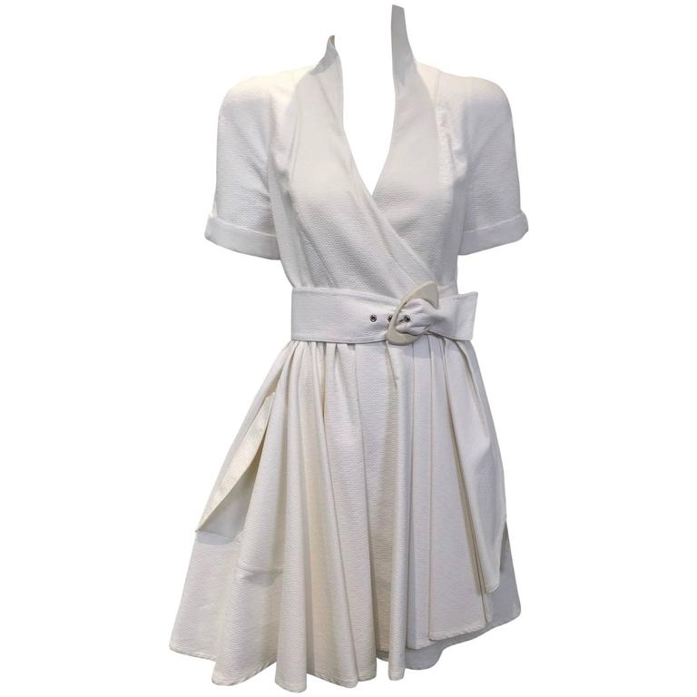 1990s Thierry Mugler white cotton wrap dress 1