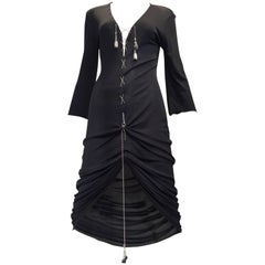 Jean paul Gaultier black knit dress with metal chainball tassel