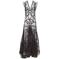 1930s black mesh gown with soutache trim