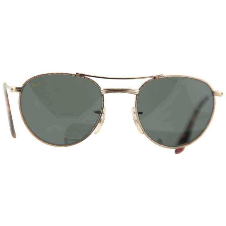 RAY BAN B&L Vintage SUNGLASSES G-15 Lens W1754 Gold Metal EYEWEAR w/CASE