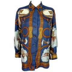 "Hermes Vintage ""Charreada"" Print Silk Shirt Blouse"