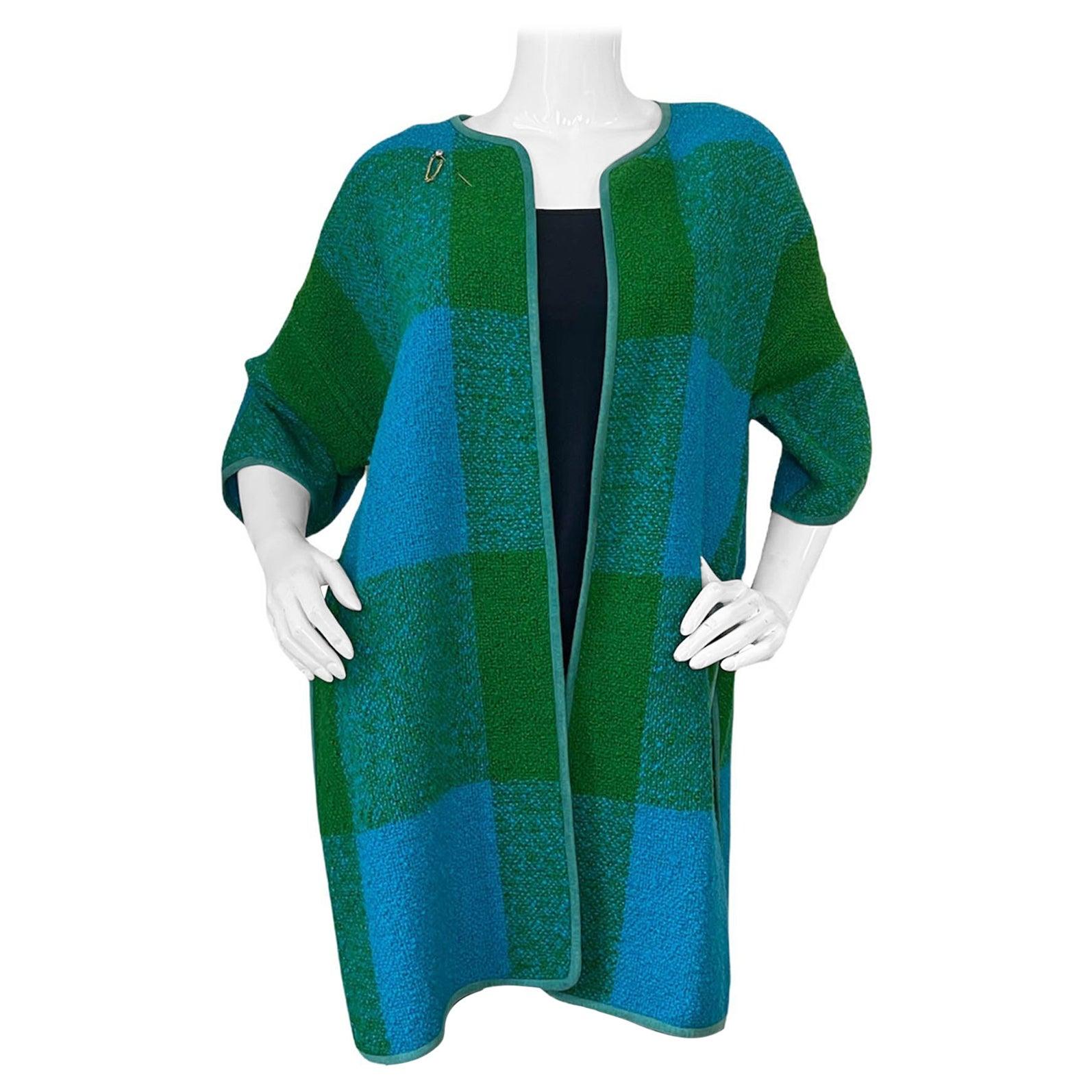 Bonnie Cashin 1960s Vintage Blue/Green Plaid Boucle Blanket Coat