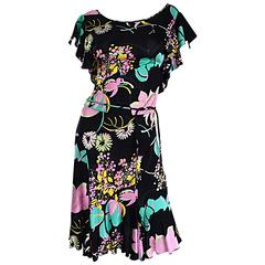Beautiful Blumarine by Anna Molinari Black Rayon Jersey 1930s Style Dress + Belt
