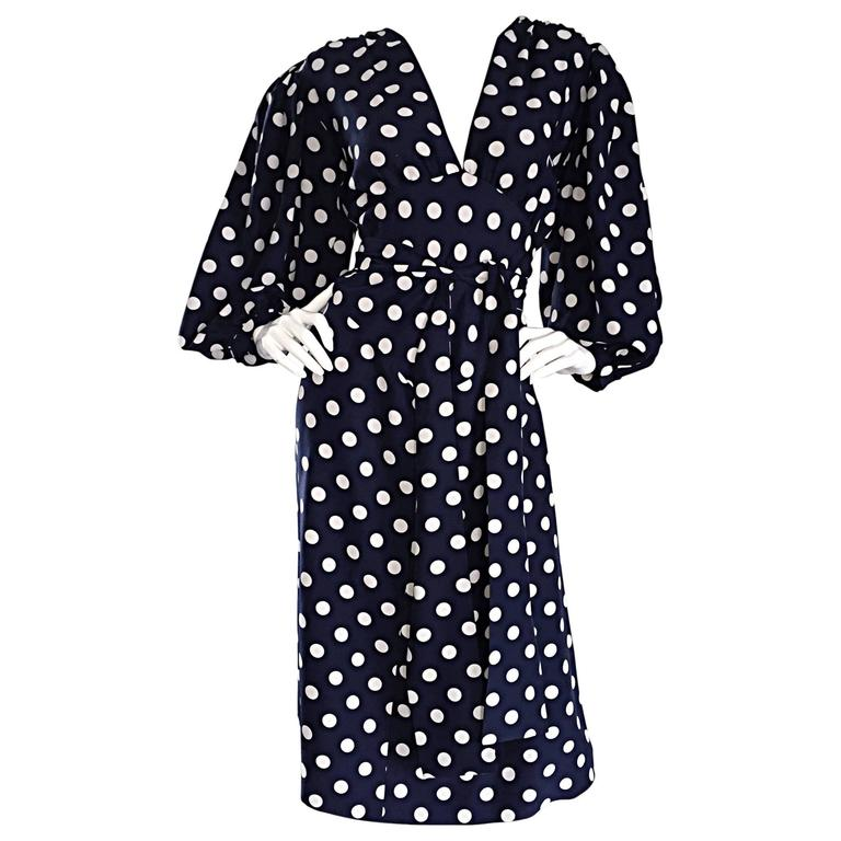 Vintage Yves Saint Laurent ' Rive Gauche ' Navy + White Silk Polka Dot Dress YSL 1