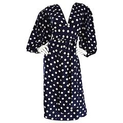 Vintage Yves Saint Laurent ' Rive Gauche ' Navy + White Silk Polka Dot Dress YSL