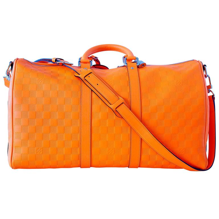 77e9736391df LOUIS VUITTON bag RUNWAY Damier Infini Keepall 45 Bandouliere Neon Orange  NWT For Sale