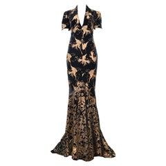 Stunning Roberto Cavalli Green Velvet Gown With Gold Bird Print 2005