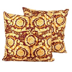 Versace Home Burgundy Baroque Silk Twill Faux Leather Pair of Cushions