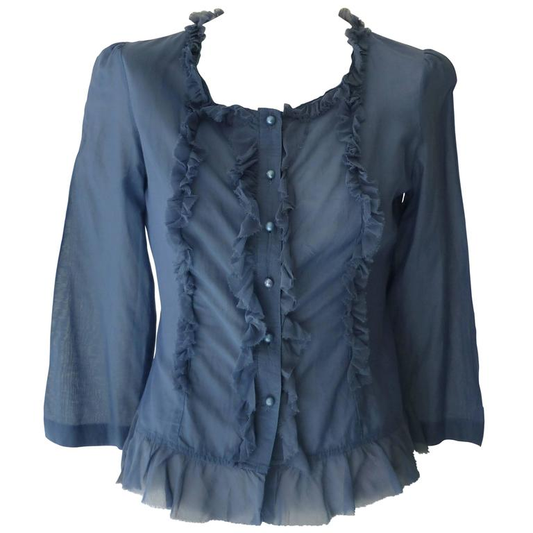 Tsumori Chisato Blue Feminine Blouse  For Sale