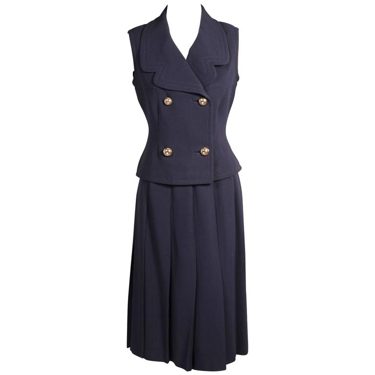 1960's Pierre Cardin Sleeveless Jacket & Skirt Suit