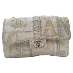 Chanel White Medium Tweed Flap Bag