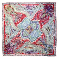 Hermes Red/Multicolor Le Jardin de la Maharani Silk & Cashmere 140 Shawl Scarf