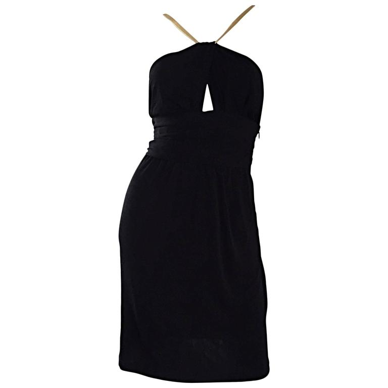 Sexy Vintage Celine Black Jersey Cut - Out Grecian Dress w/ Gold Leather Straps
