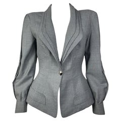 1980's Thierry Mugler Worsted Wool Jacket With 3 Layers Collar