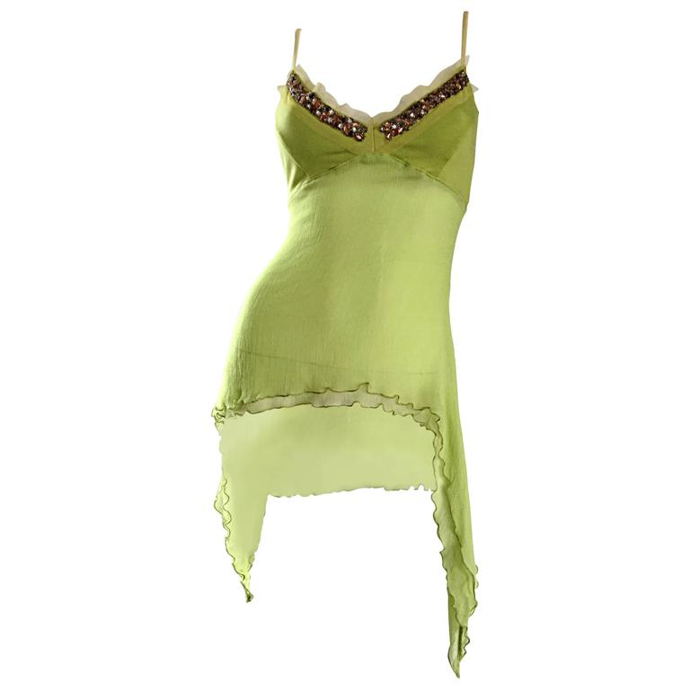 Exquisite Alexander McQueen c. 2004 BNWT Chartreuse Green Chiffon Jeweled Top For Sale