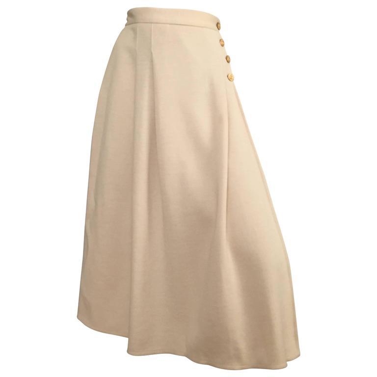 Sonia Rykiel 80s Cream Wool Wrap Skirt Size 6.