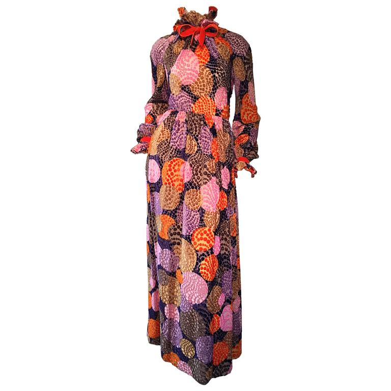 Sensational Vintage Geoffrey Beene 1970s Silk Burnt - Out Velvet 70s Dress For Sale