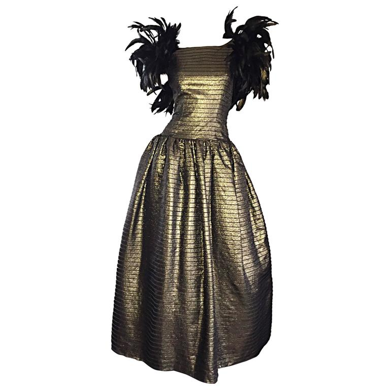 Incredible Vintage Victor Costa Gold / Bronze Avant Garde Gown w/ Feathers For Sale