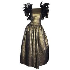 Incredible Vintage Victor Costa Gold / Bronze Avant Garde Gown w/ Feathers