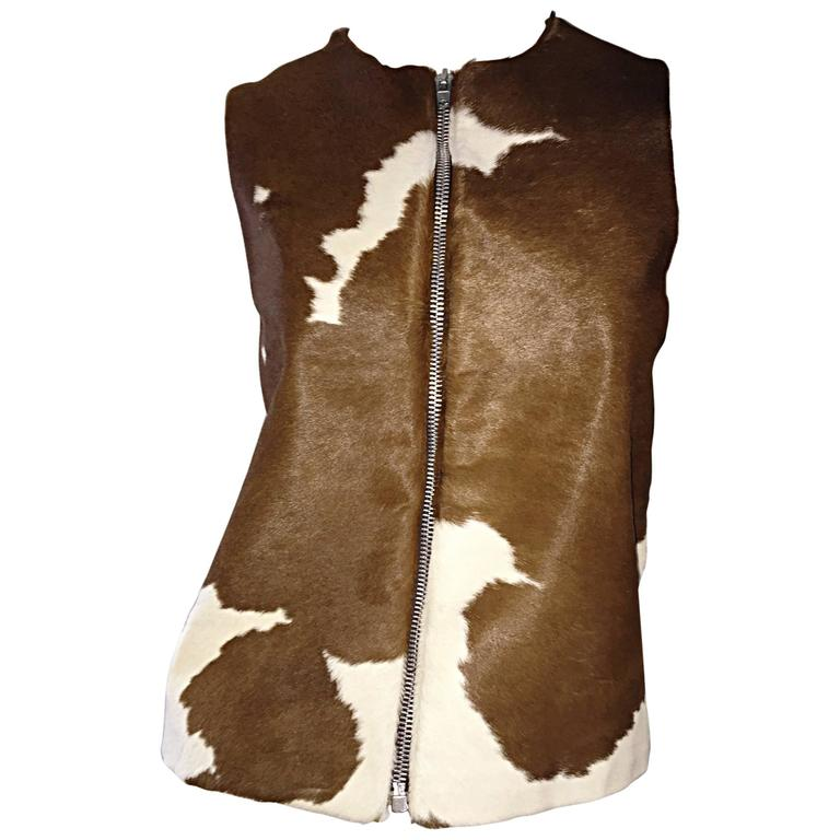 Rare Vintage Claude Montana 90s Calf Pony Hair Leather Suede Brown + White Vest For Sale