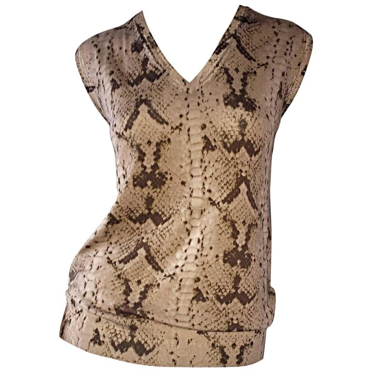 Tom Ford For Yves Saint Laurent Reptile Snake Print Lightweight Wool Top / Vest