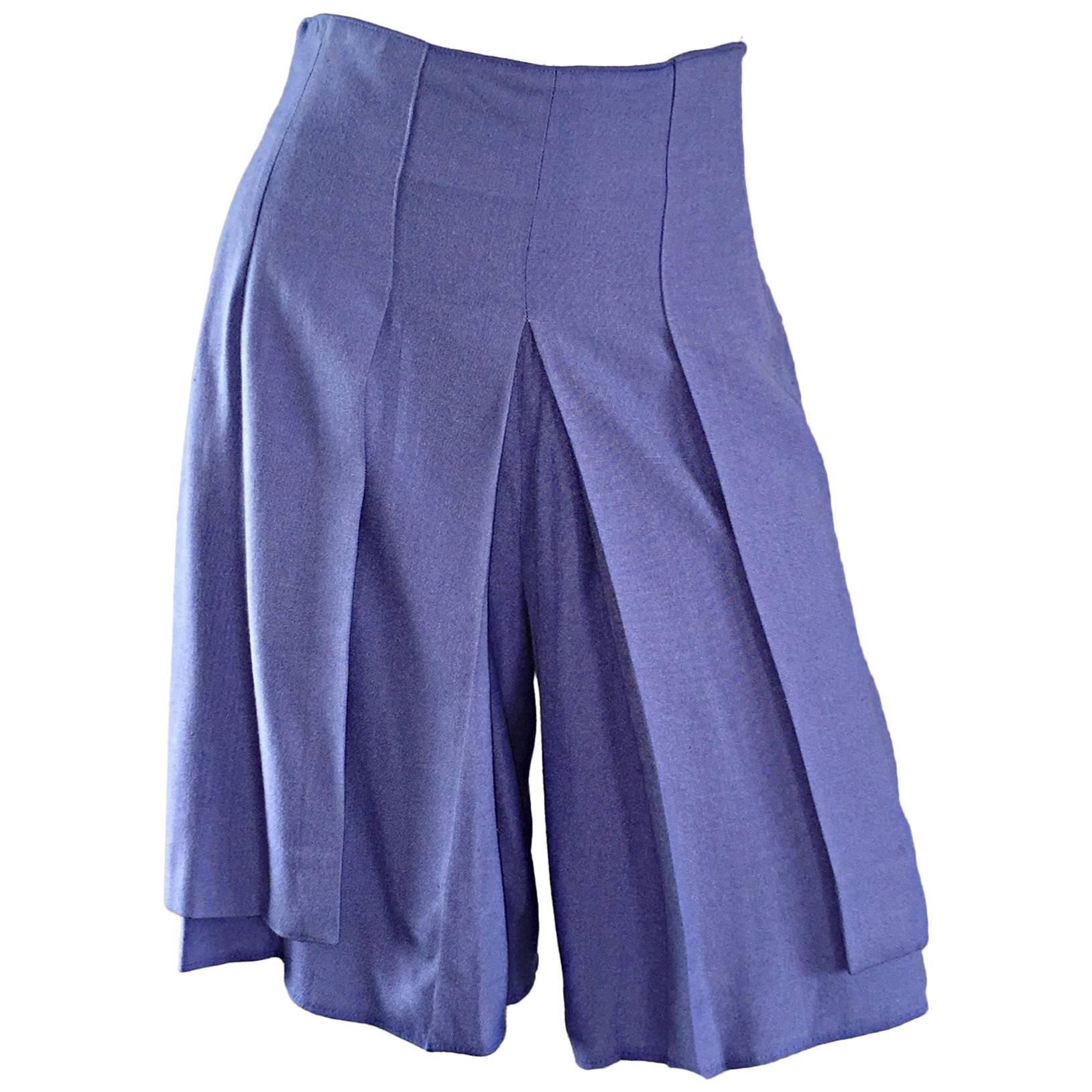 1980s Emanuelle Khanh Vintage High Wasited Periwinkle Blue Shorts Made in France