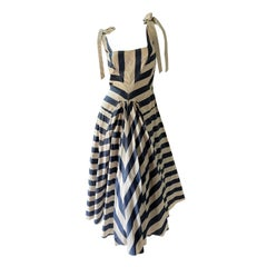 Marc Jacobs Collection Vintage Awning Stripe Cotton Dress with Full Circle Skirt