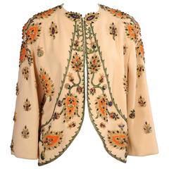 Bob Bugnand Beaded Wool Crepe Evening Jacket