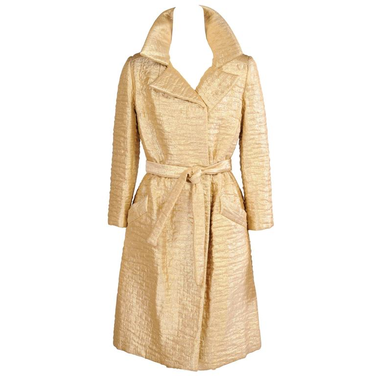 1960's Bonwit Teller Gold Lame Trench Coat For Sale